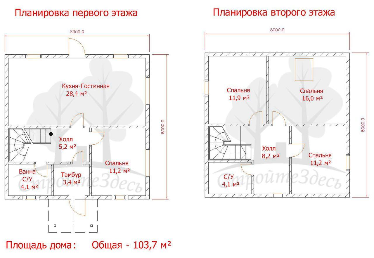 Проект дома 7 на 8 два этажа