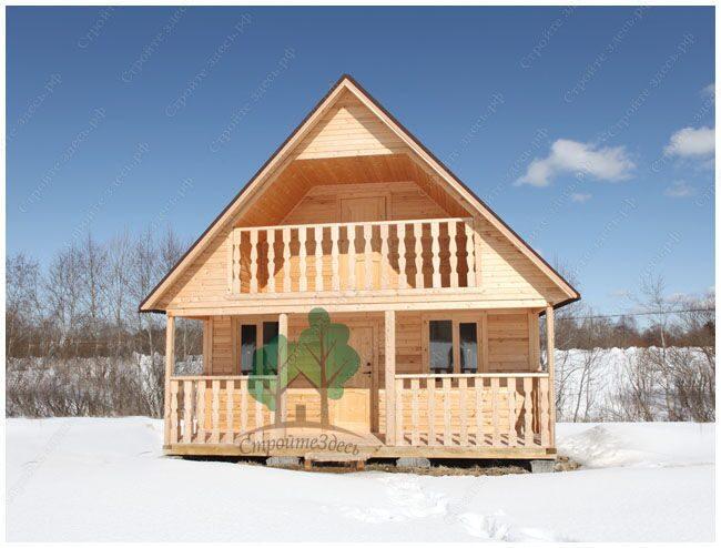 Дачный дом из бруса с террасой 6 на 8м..